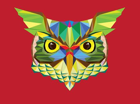 Owl head in geometric pattern