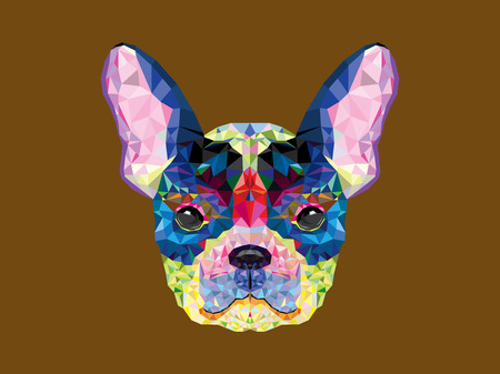 isolated animal: French bulldog head in geometric pattern
