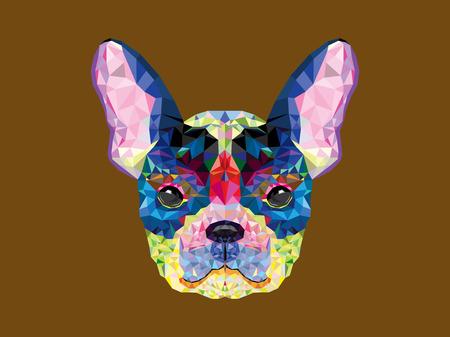 drawing an animal: Testa bulldog francese in disegno geometrico Vettoriali