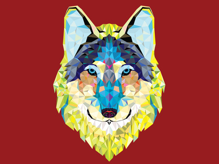 Wolf  head with geometric style Vector