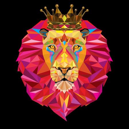 クラウンと幾何学的なパターンで王ライオン ヘッド  イラスト・ベクター素材