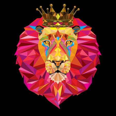 King Lion head in geometric pattern with crown Vettoriali