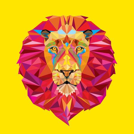 geometricos: Cabeza de león en el patrón geométrico Vectores