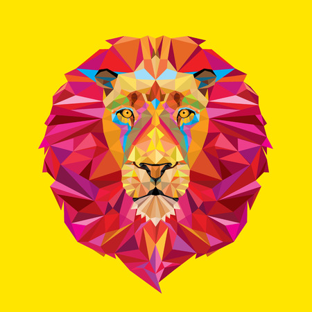 colours: Lion head in geometric pattern