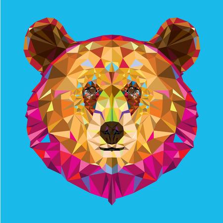 Hoofd van de grizzly beer in geomeyric patroon