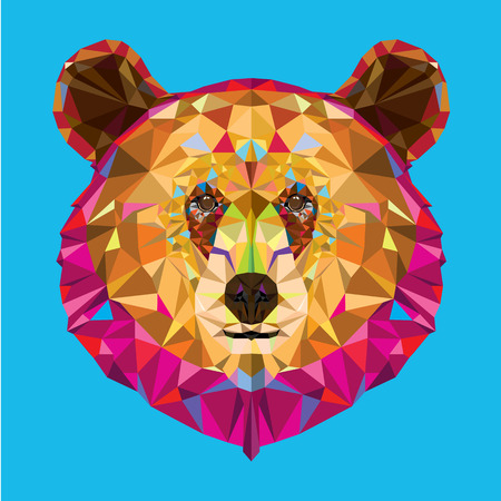 Head of grizzly bear in geomeyric pattern Illustration