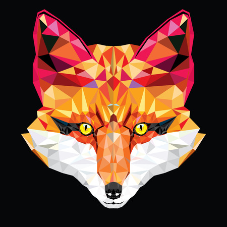 red head: Fox head in geometric pattern illustration