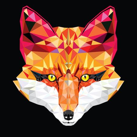 schattenbilder tiere: Fox Kopf in geometrische Muster Illustration Illustration