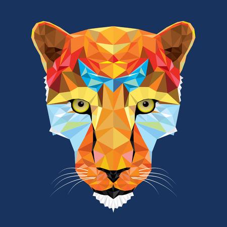 wild cat leopard in geometric pattern