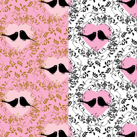 Couple birds seamless pattern  Vector