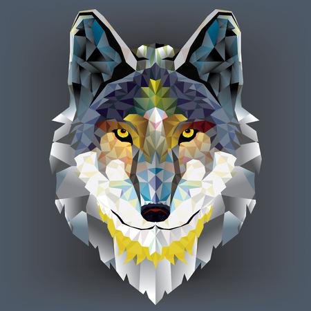 lobo: Patrón geométrico cabeza del lobo Vectores