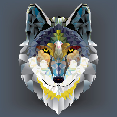 tatouage visage: T�te de loup motif g�om�trique Illustration