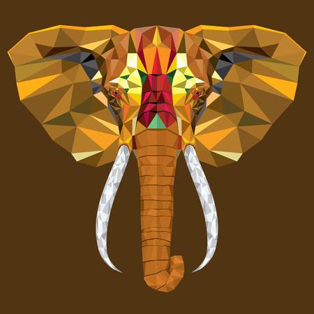 állat fej: Elefánt fej geometrikus minta