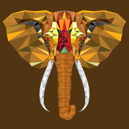 oriental: Elephant  head with geometric pattern Illustration