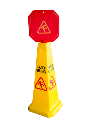 preventing: Yellow wet floor sign isolated on white background with clipping path