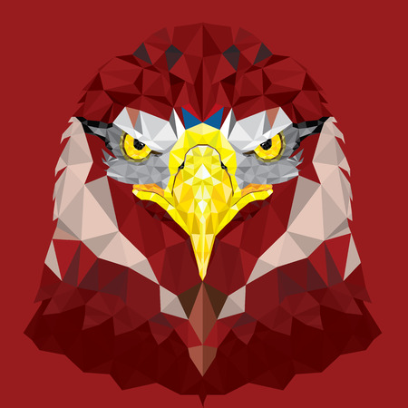 Red Eagle with geometric pattern vector Vector