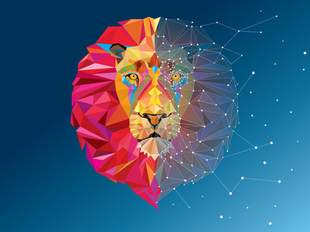lion vector: Lion head in geometric pattern with star line vector