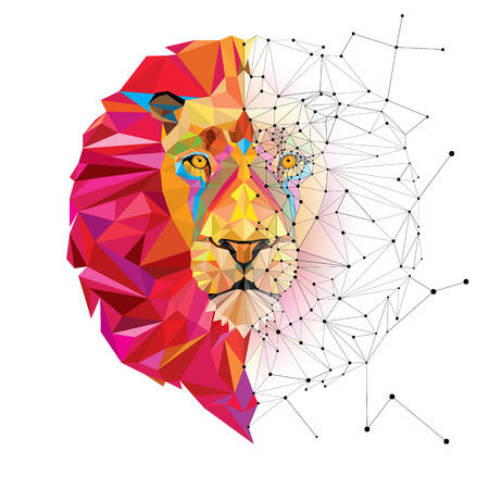 geometric design: Lion head in geometric pattern with star line vector