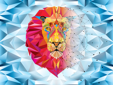 dimond: Lion head in geometric pattern with star line vector