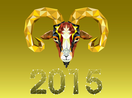 Geometric pattern goat. Vector illustration. Chinese astrological sign. New Year 2015. Vector