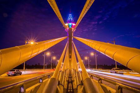 nonthaburi: Night scene with twilight time in Nonthaburi 1 bridge,Bangkok,Thailand