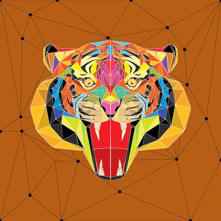black tiger: Tiger head in geometric pattern vector