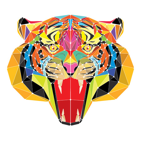 Tiger head in geometric pattern vector