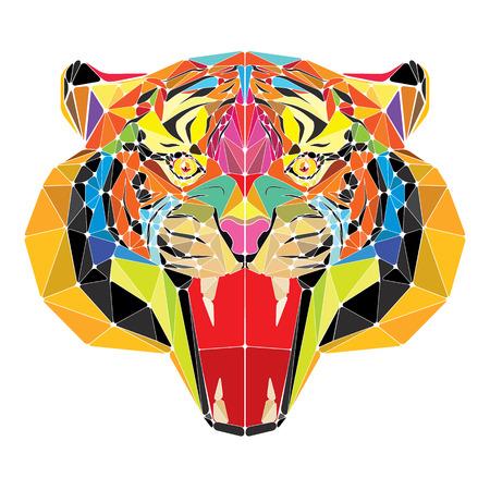Tiger head in geometric pattern vector