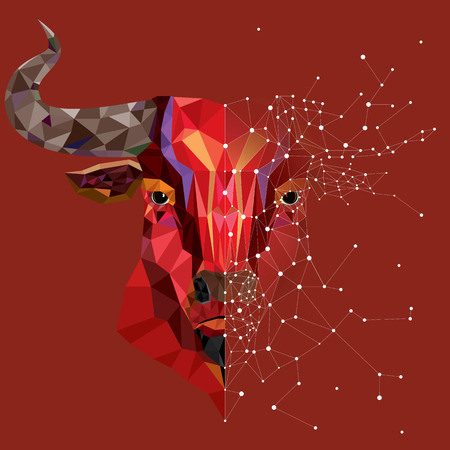 marvelous: Red bull head with geometric pattern- Vector illustration
