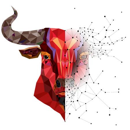toro: Cabeza de toro rojo con patrón-geométrico ilustración vectorial Vectores