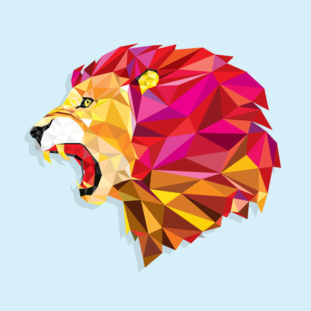 Angry lion with geometric pattern- Vector illustration