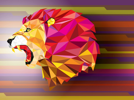 Angry lion geometric pattern on abstract background- Vector illustration