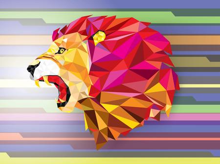 dimond: Low polygon Llion geometric pattern on abstract background- Vector illustration Illustration