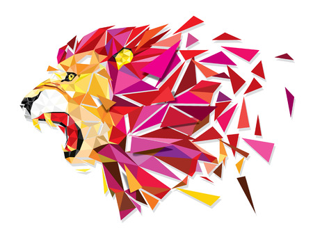 lion head: Low polygon Llion geometric pattern explode - Vector illustration Illustration