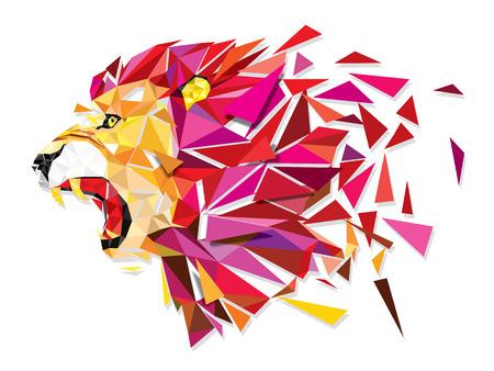 high school sports: Low polygon Llion geometric pattern explode - Vector illustration Illustration