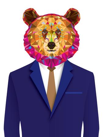 kodiak: grizzly bear man in geomeyric pattern