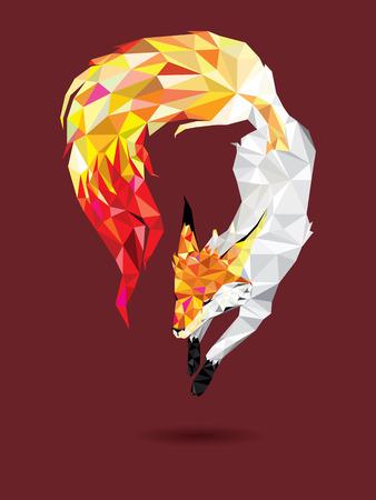 Low polygon Fox jump in geometric pattern, vector illustration