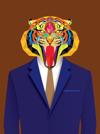 face painting: Tiger man with geometric style