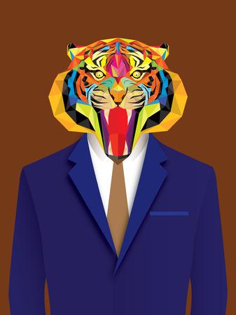 geometric style: Tiger man with geometric style