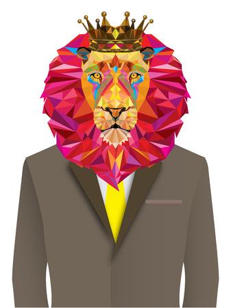 Lion man in geometric pattern - Vector illustration