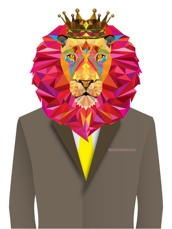 Lion man in geometric pattern - Vector illustration