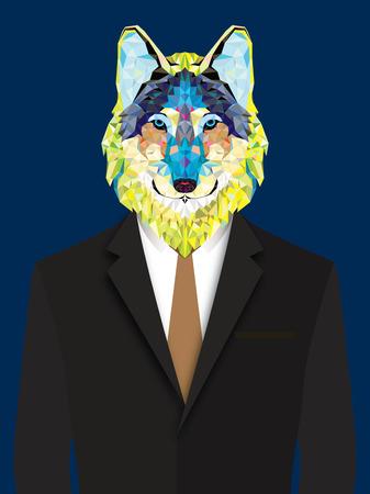Wolf  man geometric style Иллюстрация