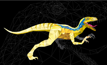 dinosauro: Dinosauro Velociraptor in stile disegno geometrico. vettoriale eps 10 Vettoriali