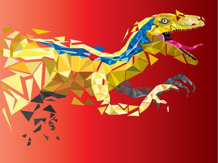 dinosaurio caricatura: Velociraptor Dinosaurio en estilo patr�n geom�trico. Vectores
