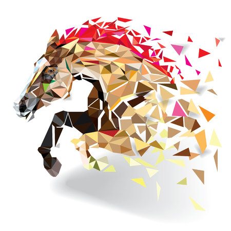 low poly: Horse in geometric pattern style. Stock Photo