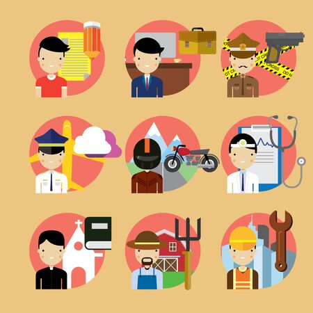 occupations: People occupation characters set in flat style Stock Photo