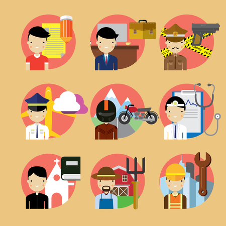 job icon: People occupation characters set in flat style Illustration