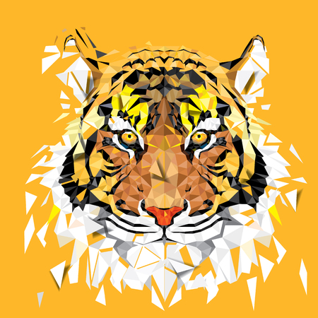 Low polygon Tiger geometric pattern - Vector illustration Illustration