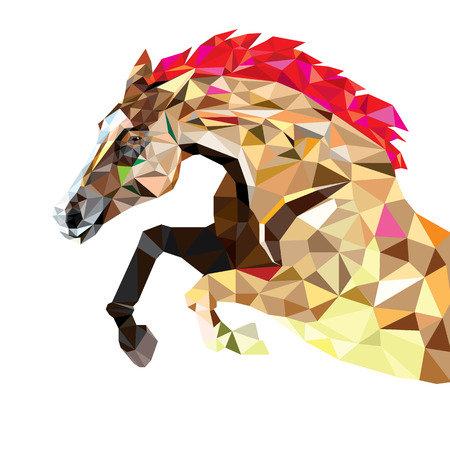 faced: Horse in geometric pattern style. Illustration