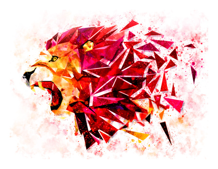 Low polygon lion geometric pattern explode. water color filter. LION ANGRY Banco de Imagens